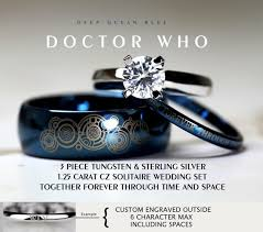 doctor who wedding ring blue doctor who his 8mm tungsten and hers 4mm 925 sterling