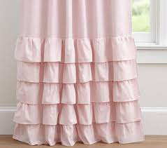 Pink Ruffle Curtains Panels by Evelyn Linen Blend Ruffle Bottom Blackout Curtain Pottery Barn Kids