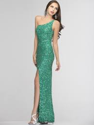 one shoulder prom dress with slit by scala sung boutique l a