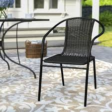 Black Metal Patio Chairs Black Patio Dining Chairs You Ll Wayfair