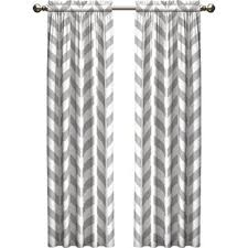 White And Grey Curtains Set Of Two Curtains Wayfair