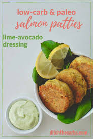 lime paleo low carb salmon patties with lime avocado dressing