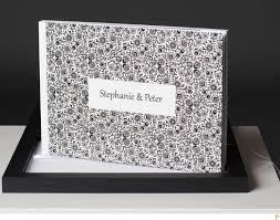 white wedding album wedding album with black decor on white with a black box