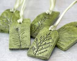 ceramic ornaments with plant impression