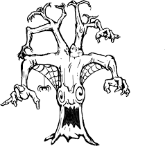 Printable Coloring Page Of A Scary Tree With Spider Web Coloring Scary Coloring Paes