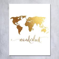 Map Wall Decor by Wanderlust World Map Gold Foil Print Travel World