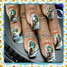 nails by yen thank you mrs walker hand painted peacock nail