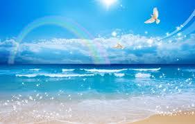 wallpaper white doves rainbow shore bubbles sand sea