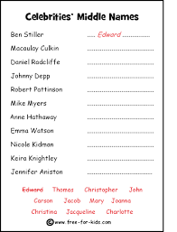 middle names free quiz sheets