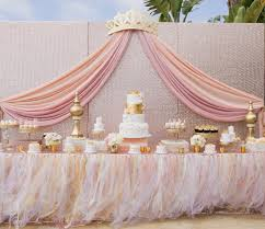 pink and silver baby shower baby shower princess theme ideas pink organza table decoration