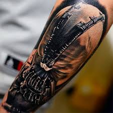 realistic 3d bane face tattoo design for sleeve by khan