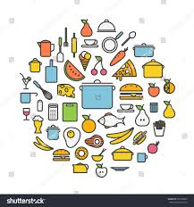 kitchen tools meal silhouette icons circle stock vector 251903989