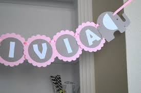 baby shower banners baby shower banner name elephant baby girl shower in baby pink