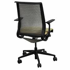steelcase think used mesh back conference chair yellow pattern