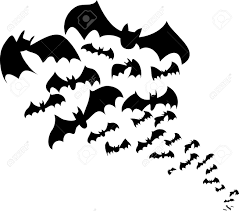 Bat For Halloween Flying Bats Flock Black Silhouettes For Halloween Royalty Free