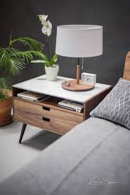 nightstand with two drawers in solid walnut oak wood board and