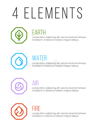 nature 4 elements in line border abstract icon sign water