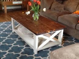 White Wood Coffee Table Two Tone Coffee Table Farmhouse Style X 2x4 Industrial White Wood