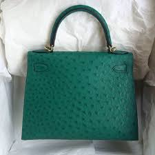 z6 malachite color ostrich leather hermes kelly bag 28cm sellier