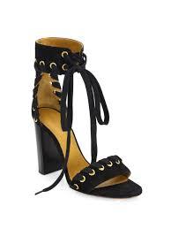 lyst chloé miles whipstitch suede block heel sandals in black