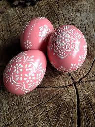 pink easter eggs set of 3 pink decorated colours painted chicken easter egg
