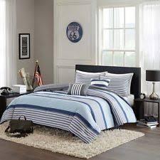 Navy Stripe Comforter Set Spa Stripe Ultra Soft 100 Cotton Light Blue Striped Modern