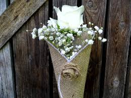 pew decorations for weddings burlap flower cone rustic flower cone church decoration