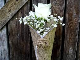 wedding pew decorations burlap flower cone rustic flower cone church decoration