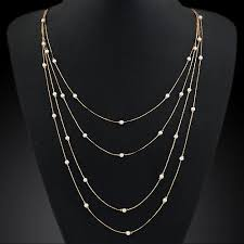 simple long chain necklace images New hammered bar simple double chain charm pearl necklace beads jpg