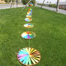 home lawn decoration new 1pc rainbow wheel windmill wind spinner whirligig garden home