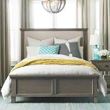 upholstered bed driftwood finish bassett home furnishings