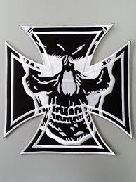 embroidered biker motorcycle iron cross skull back jacket patch