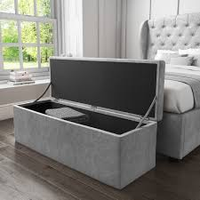 Ottoman Storage Safina Ottoman Storage Box In Grey Velvet Furniture123