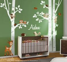 Animal Wall Decals For Nursery Birch Trees Wall Decal Nursery Wall Decal Forest Trees Wall Decal