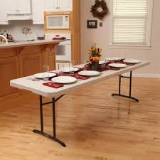 8 ft commercial fold in half table with handle 12 pack almond
