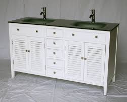 Bathroom Vanities 60 by 60 Inch Bathroom Vanity Cottage Style White Cabinet Glass Top