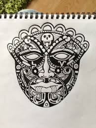 free aztec mask tattoo design real photo pictures images and