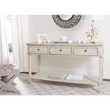 White Lacquer Sofa Table by Safavieh Manelin White Washed Storage Console Table Amh6641b The