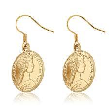 beautiful gold earrings beautiful gold plated elizabeth ii vintage australia coin