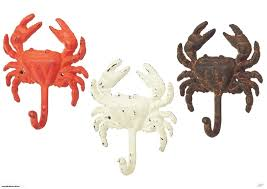 crab wall hooks set of 3 painted distressed cast iron midwest cbk