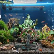 Pirate Captain Aquarium Decorations Landscape Skeleton Fish Tank