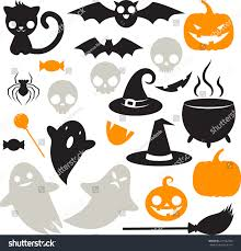 great set cute kawaii silhouettes halloween stock vector 219152506
