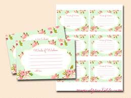 Words Of Wisdom Cards Mint Shabby Chic Bridal Shower Games Magical Printable