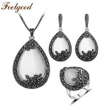 white opal silver necklace images Feelgood vintage silver color jewellery big water drop pendant jpg