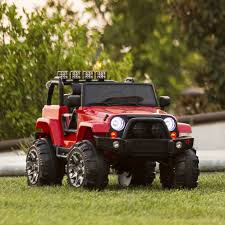 kids gas jeep 12v ride on car truck w parent control red u2013 best choice products
