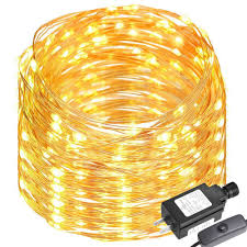 Patio String Lights White Cord by Le 65ft 200 Leds Copper Wire Led Warm White Fairy String Lights