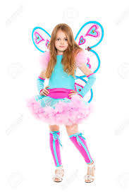 butterfly costume girl wearing luxury butterfly costume isolated on