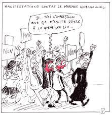 dessin humoristique mariage importantes manifestations des conservateurs et des intégristes
