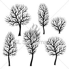 collection of abstract stylized black trees silhouettes gl