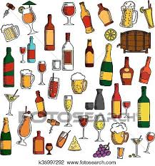 clipart of alcohol drinks cocktails with snacks sketch icon